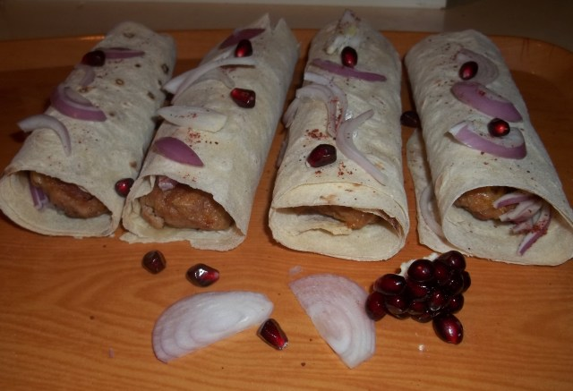 Kababi with Pomegranate Seeds Ready for Serving